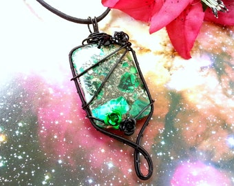 Wire Wrapped Pendant Sea Sediment Jasper Necklace Green Gemstone Jewelry 925 Silver Chain Large Gift Her Him Variscite Gothic Black Flower