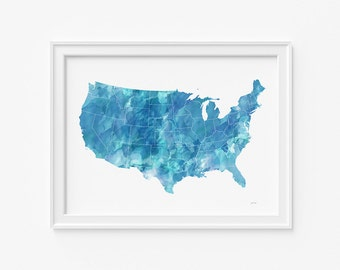 "United States watercolor Map, printable file (JPEG) download and print any size between 18""x24"" and 12""x16"", Art, Wall art, home decor"