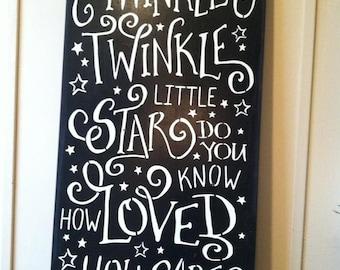 "Wood sign 'Twinkle Twinkle Little Star' 12"" x 24"" black wood sign baby's room wall art nursery wall art kids room wood sign little star art"