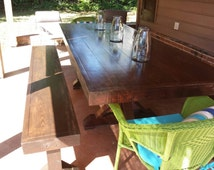 X-Style Farmhouse Dining Table w/ Matching Benches