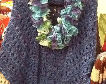 Hand Knit Ruffled Infinity Scarves