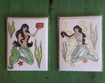 Mermaid Lovers Art set of 2 note cards, day of the dead mermaids sugar skulls sea nymphs, dia de los muertos, las sirenas, ocean lovers