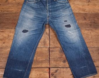 Levis True Vintage 501 Denim Jeans. Big E One Side Tab. Pre 1955. Mens 40 x 32. HW31