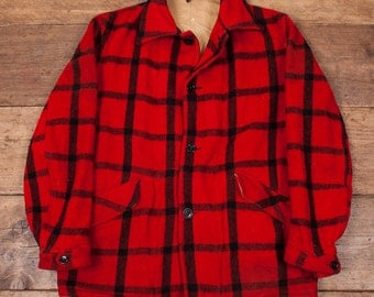 "Mens Vintage 1940s Wool Hunting Jacket Lightning Zip Size Large 44"" R3213"