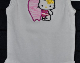 """Embroidered Applique """"Kitty Surfer Girl"""" Onesie - Size 3M"""