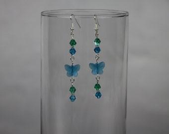 Blue Butterfly Glass Crystal Earrings