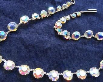 Lovely 1950s Art Deco aurora borealis open back crystal necklace