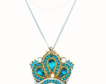 Pendant Turquoise Gold Crown Soutache Crown Queen