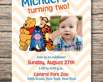Winnie the Pooh Birthday Invitation, 2nd Birthday Invitation, Digital File