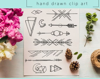 Hand Drawn Clip Art / PNG files / Photoshop brushes / Digital Download / Arrows / Geometric Shape / Triangle / Tribal / Doodle