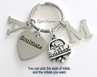 Soulmate Keychain, Just Married Gift, Just Married Key Chain, Gift for Newly Wed Wedding Gift for Husband Keyring 2 Initials Personalized