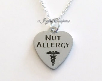 Nut Allergy Necklace, Medical Alert Jewelry Gift for Peanut Reaction Warning Jewelry Tree Nut anaphylactic shock charm man men boy girl