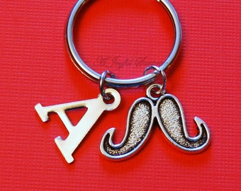 SALE Mustache Key Chain, Movember KeyChain, Gift for Grandfather Dad Father's Day Present Santa's Moustache Keyring Initial Letter 126
