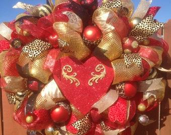 Valentine wreath,Valentine's Day wreath,Leopard wreath,Heart wreath,Valentine decor, Valentine gift,Valentine leopard,Valentine heart wreath