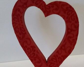 Red Velvet Wooden Heart