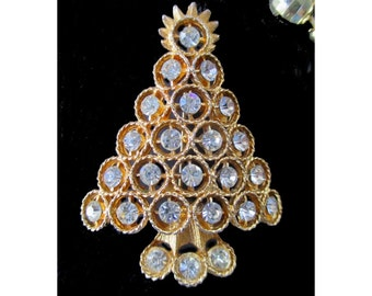 CHRISTMAS TREE PIN / Brooch * Large Pin * White Rhinestones * Gold Tone * Christmas Gift * Gift For Lady