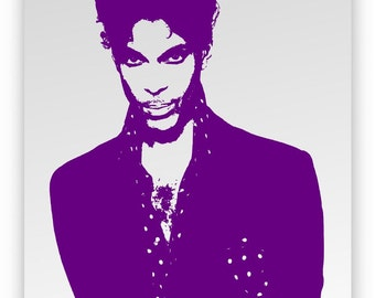 Prince. Mirror hand engraved, sandblasted and coloured purple.