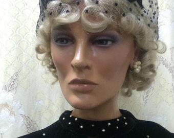 Vintage 1950s Black Fascinator