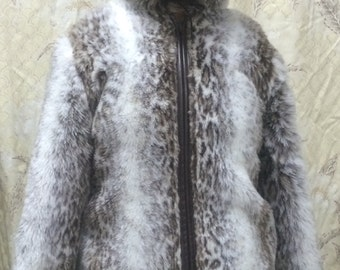 Hooded Leopard Print Coat with Bown Faux Leather Trim and Belt