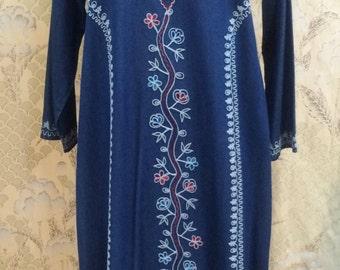 Blue Embroidered Hippie Dress/Caftan/Bohoemian Dress