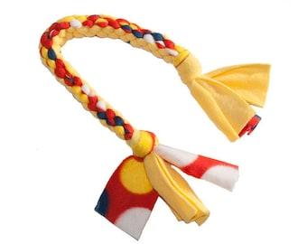 Fleece Dog Tug in Yellow + Red + Blue | Dog Toy, Dog Tug Toy, Fleece Dog Toy
