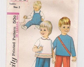 """Vintage Simplicity children's pattern #5644, size 2, breast 20"""", waist 19 1/2"""", """"Toddlers' Overalls and Top"""", for girls and boys, from 1964."""