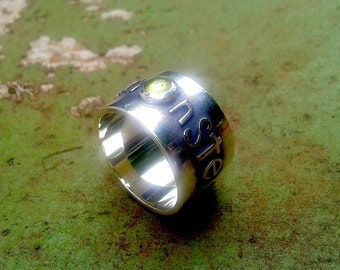 "Sterling silver ""green eyed monster"" ring with green amethyst"
