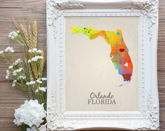 Orlando Map, Orlando Florida Map, Orlando Wedding Gift, Orlando FL Home Decor, Orlando Wall Art, Orlando City Instant Download Printable Art