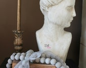 Driftwood Gray Wooden Home Decor Beads With Organza Ribbon