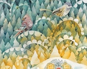 Silent Night Forest Winter Night Cozy House Birds Stars and Moon Art Folk Art Print of Original Watercolor Illustration for Home