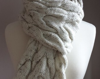 Hand Knit Scarf. Cable Knit Scarf. Tweed Scarf. Chunky, Colourful Scarf in White.