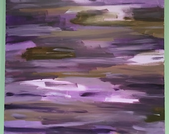 Purple, lavender & brown, abstract acrylic painting, 24x36
