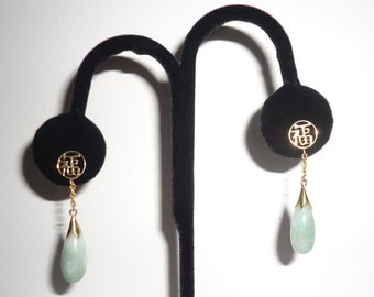 Jade 14 ct. Earrings Apple Green Pendant Dangle Chinese 14ct Gold Symbol Republic Period China