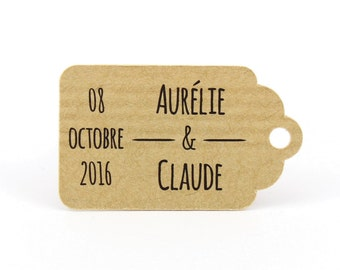 10 labels 2.4 x 4 cm in kraft, medium-sized, personalized chocolate dragees