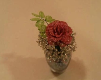 Handmade Beaded Rose in Vase with Babies Breath