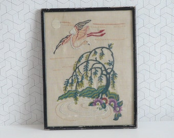 Vintage framed embroidery 1950 - willow tree and a flamingo | fifties needlework