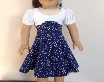 18 Inch Doll Clothes American Girl Doll Dress American Girl Clothes American Girl Doll Clothes Blue and White Fitted Dress with Hair Ribbon
