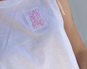 SAD BUT RAD Pink-Embroidered Aesthetic Tumblr Muscle Tee