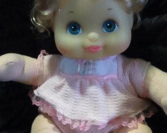 Vintage 1985 Mattel Canada My CHILD Doll Vinyl Head with Working Movement. Blonde with Blue Eyes HTF Canadian Edition!
