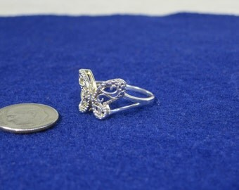 Vintage Sterling Silver Filigree Butterfly Ring Size 8