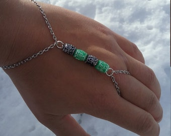 Black and Mint Bead and Chain Slave Bracelet