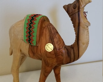 vintage artisan carved camel statue in bethlehem  - olive wood figure from holy land 1970 era - good shepherd israel figurine nativity