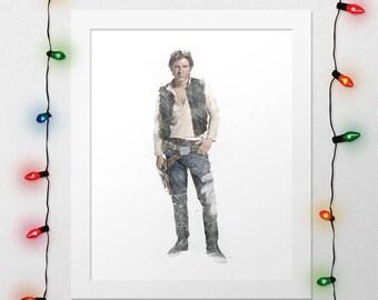 HAN SOLO PRINT, Han Solo, Star Wars, Star Wars Han Solo, Force Awakens, Han Solo Watercolor, Star Wars Poster, Star Wars Art, Digital Print