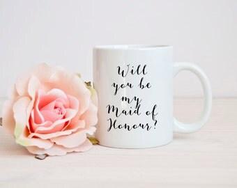 maid of honour gift, will you maid of honour mug, best bridesmaid mug, funny bridesmaid mug, be my maid of honour mug, mug for bridesmaid