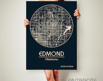 EDMOND Oklahoma  CANVAS Map Edmond Oklahoma Poster City Map Edmond Oklahoma Art Print Edmond Oklahoma
