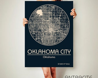 OKLAHOMA CITY Oklahoma City Map Oklahoma City Art Print Oklahoma City poster Oklahoma City map art United States of America Poster