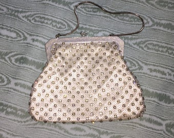 Vintage 1950's evening bag with rhinestones, silver