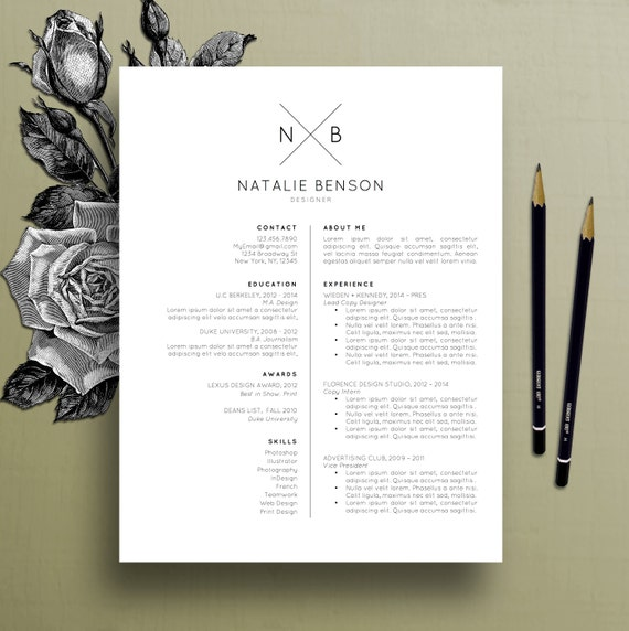 modern resume template cover letter template for word professional resume template design creative resume free resume template natalie - Resume Templates With Cover Letter