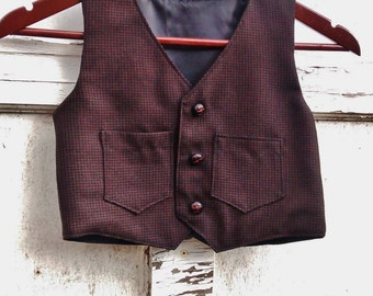 boy's wool vest, wool brown vest, checkered vest, Boy's 3T vest, boy vests, black wool vest
