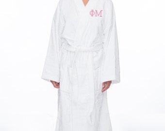 Phi Mu Terry Bath Robe, Phi Mu Terry Robe,Phi Mu  Sorority Letter Bath Robe, Greek Apparel, Phi Mu Spa Robe, Phi Mu House Robe